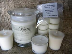votives, tealights, spa cups and jar from Down-To-Earth line
