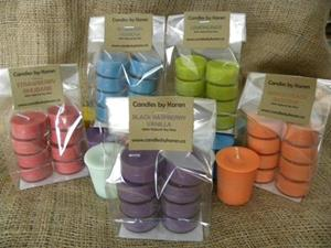 packages of eight tealights in spring and summer scents